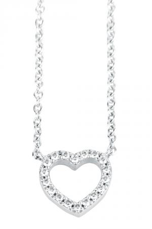 Tiffany & Co. Metro Diamond Heart 18k White Gold Pendant Necklace