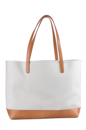 Mansur Gavriel Cream/Tan Canvas and Leather Tote