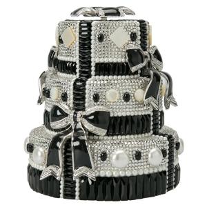 Judith Leiber Black/White Swarovski Crystal Bow Cake Minaudiere Clutch