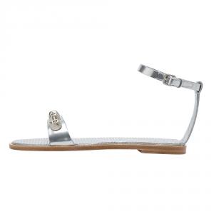 Miu Miu Metallic Silver Leather Studded Ankle Strap Flat Sandals Size 36 -