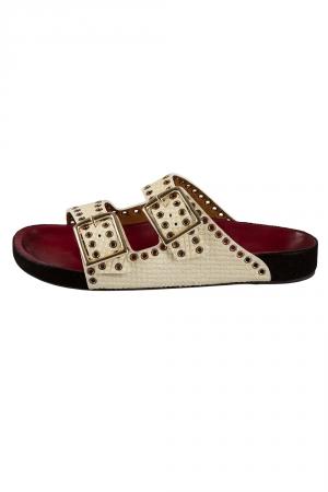 Isabel Marant Cream Python Embossed Leather Lenny Eyelet Studded Slides Size 38