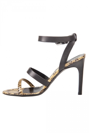Alexander McQueen Yellow Python And Black Leather Cleo Ankle Strap Sandals Size 37 - used