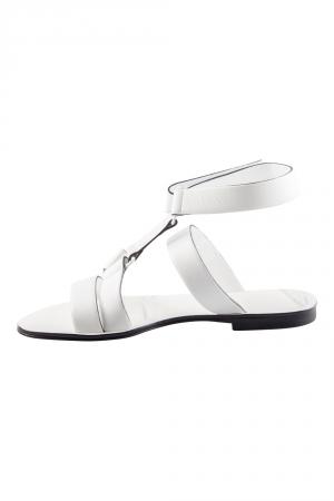 Jil Sander White Leather Strappy Flat Sandals Size 36