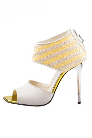 Just Cavalli Cream Leather And Yellow Raffia Open Toe Booties Size 38
