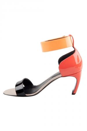 Nicholas Kirkwood Tricolor Patent Leather Ankle Cuff Sandals Size 36.5 -