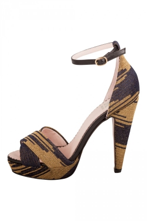 Missoni Two Tone Knit Fabric And Leather Trim Ankle Strap Platform Sandals Size 38 -