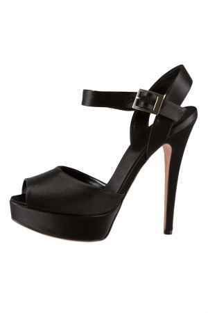 Giambattista Valli Black Satin Peep Toe Ankle Strap Platform Sandals Size 37