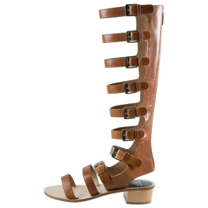 Laurence Dacade Brown Leather Halle Gladiator Sandals Size 38.5