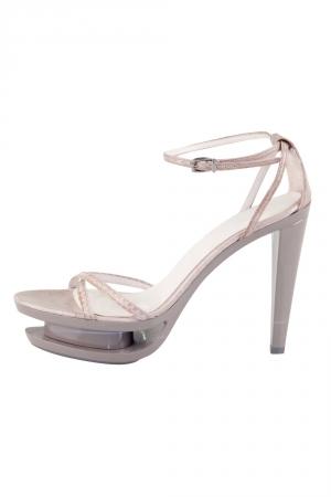 Jil Sander Grey Leather Ankle Strap Sandals Size 35 - used