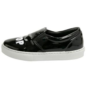 Chiara Ferragni Black Patent Leather Never Stop Slip On Sneakers Size 39 - used