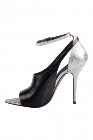 Alexander Wang Metallic Silver And Black Textured Leather Carolyn Ankle Strap Sandals Size 37