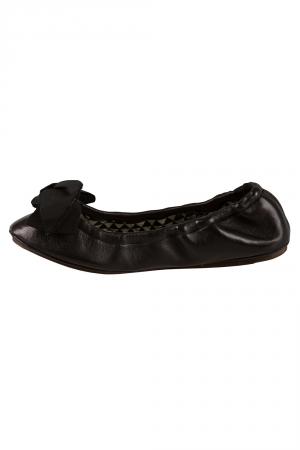 Isabel Marant Metallic Black Leather Bow Scrunch Ballet Flats Size 37