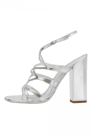 Saint Laurent Paris Silver Patent Leather Strappy Block Heel Sandals Size 38.5