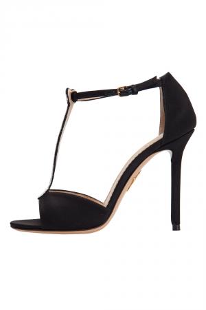Charlotte Olympia Monochrome Satin Skeleton T Strap Sandals Size 36.5 -