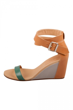 Maison Martin Margiela Tricolor Leather Ankle Strap Wedge Sandals Size 37