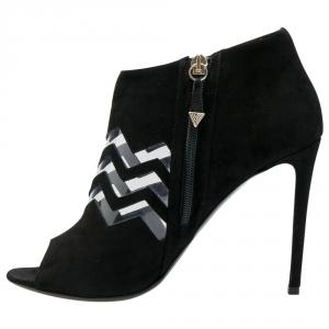 Nicholas Kirkwood Black Suede And PVC Chevron Peep Toe Ankle Booties Size 38.5 - used