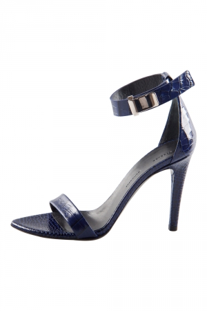 Proenza Schouler Blue Croc Embossed Leather Open Toe Sandals Size 36