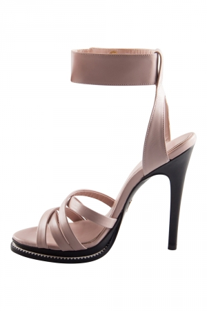 Alexander McQueen Pink Leather Mini Criss Cross Ankle Cuff Sandals Size 37 -