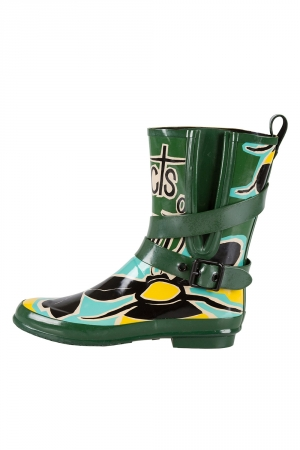 Burberry Multicolor Insects of Britain Rubber Belted Rainboots Size 37 -