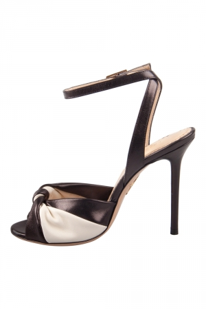 Charlotte Olympia Black/White Leather Do The Twist Ankle Strap Sandals Size 37