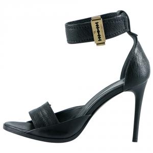 Alexander McQueen Black Leather Lana Razor Ankle Cuff Sandals Size 37