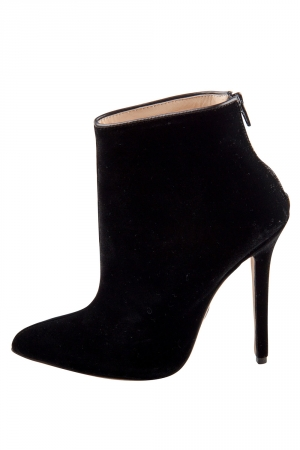 Olcay Gulsen Black Velvet Pointed Toe Ankle Boots Size 37 - used