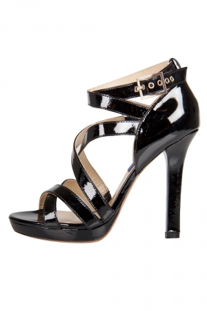 Jimmy Choo Black Patent Leather Poppy Strappy Platform Sandals Size 37