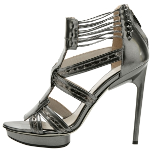 Jason Wu Metallic Grey Patent Leather Carolyn Platform Sandals Size 38