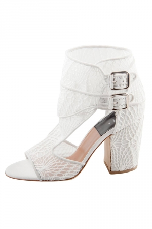 Laurence Dacade White Lace And Suede Rush Macrame Cut Out Open Toe Booties Size 37 -