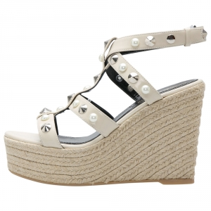 Nicholas Kirkwood Beige Patent Leather Stud And Pearl Embellished Strappy Espadrille Wedges Sandals Size 37 -