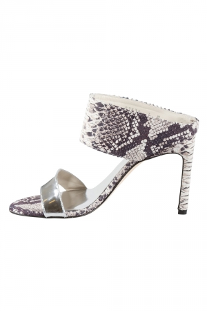 Stuart Weitzman Monochrome Python Embossed And Metallic Silver Leather Open Toe Sandals Size 37.5 - used