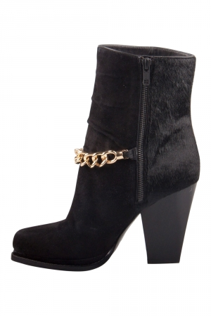 3.1 Phillip Lim Black Suede And Calf Hair Berlin Chain Detail Ankle Boots Size 38.5 -