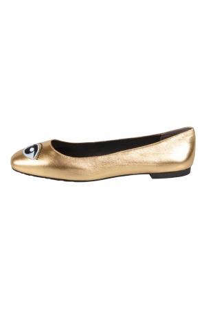 Kenzo Metallic Gold Leather Eye Ballet Flats Size 38 - used