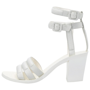 Alexander Wang White Lizard Embossed Leather Ankle Strap Sandals Size 36.5