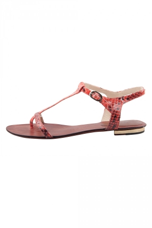 Alexandre Birman Red Python Leather T Strap Flat Sandals Size 38.5 - used