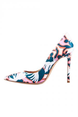 Gianvito Rossi Multicolor Printed Satin Pointed Toe Pumps Size 39