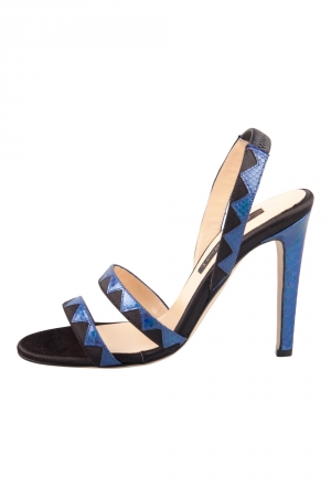 Chrissie Morris Metallic Blue Python Leather Trim And Satin Slingback Open Toe Sandals Size 37