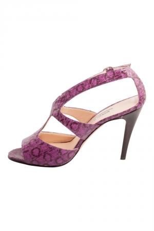 Manolo Blahnik Purple And Black Snakeskin Peep Toe Ankle Strap Sandals Size 38.5 - used
