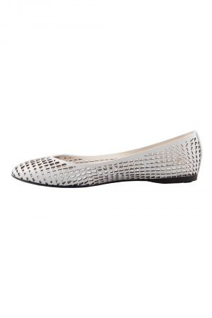Jil Sander White Perforated Leather Ballet Flats Size 36.5 - used