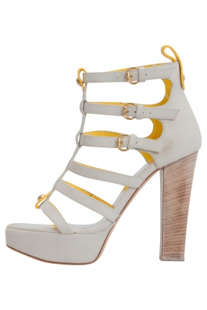 Giuseppe Zanotti White And Yellow Suede Strappy Platform Sandals Size 36 - used