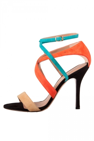 Jean Michel Cazabat Multicolor Suede Cross Strap Open Toe Sandals Size 37