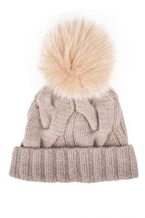 Loro Piana Beige Baby Cashmere Beige Fox Fur Pom Pom Detail Beanie Hat