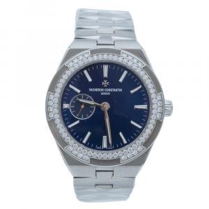 Vacheron Constantin Overseas Blue Dial Steel & Diamond Bezel Automatic Women's Watch 37 MM