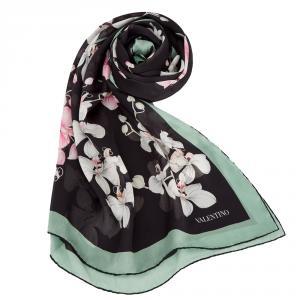 Valentino Black Orchid Print Silk Shawl