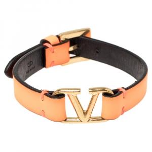 Valentino Neon Orange Leather Vlogo Bracelet