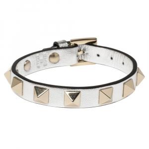 Valentino Silver Leather Rockstud Bracelet