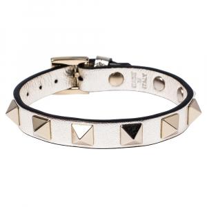 Valentino Platino Leather Rockstud Bracelet