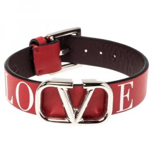 Valentino Red Leather Love Vlogo Bracelet