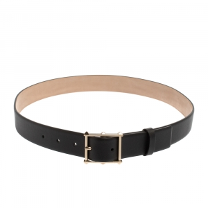 Valentino Black Leather Rockstud Buckle Belt 85CM