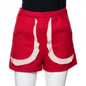 RED Valentino Red Tricotine Tech Ruffle Detail Shorts Size M